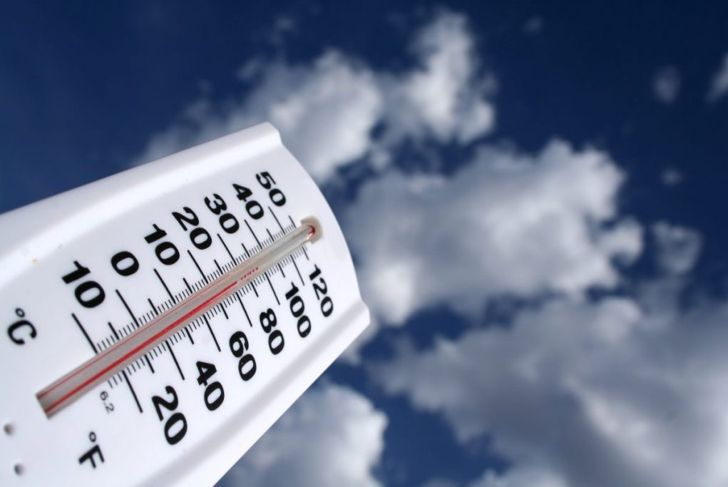 Outdoor thermometer against blue sky