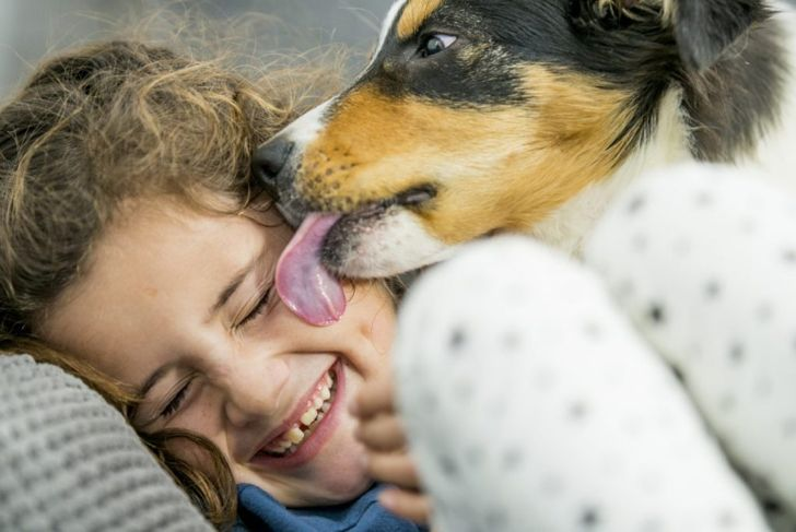 girl kissing dog tapeworm