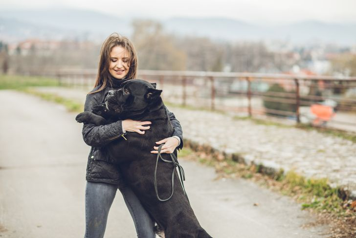 Young brunette woman hugging her dog in public park